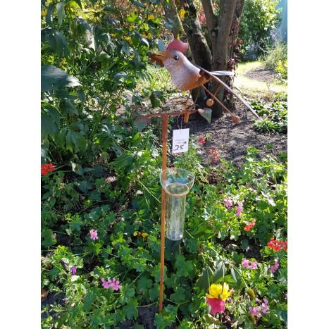 Pluviomètre oiseau coloré 64075